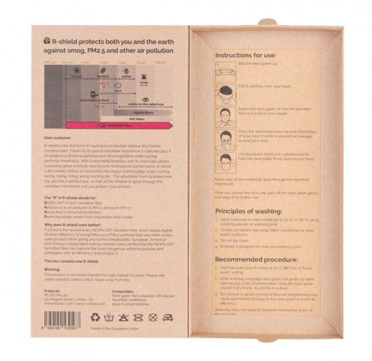 Respilon RESPIRÁTOR - Nákrčník s nanovlákenným filtrem 50 x vyprání CHARITY BLACK Light